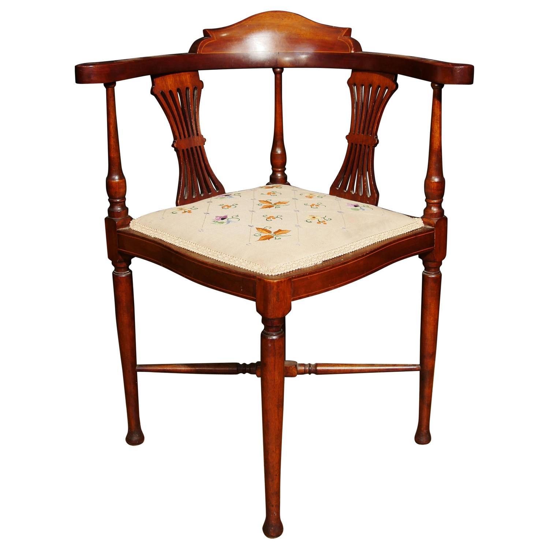 antique edwardian corner chair seat mahogany inlay 1910
