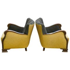 1930s Pair of Large-Sized Danish Club Chairs with Carved Armrests