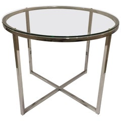 1970s Chrome and Glass Round End Table attributed to Milo Baughman