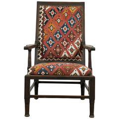Vintage Indian Armchair Upholstered in Vintage Kilim Rug