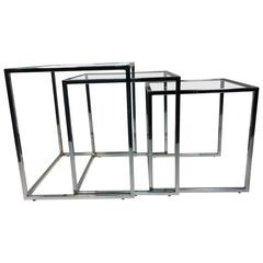 Exceptional Set of Chrome Nesting Tables by Milo Baughman