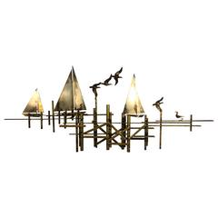 Fantastic Brutalist Curtis Jere Wall Sculpture of Sailboats and Birds