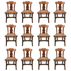 Set of 12 Biedermeier Style Caned Seat Chairs