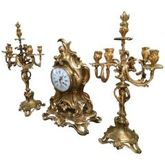 Exceptional Rare Solid Gold Bronze Clock Candelabra Barbedienne Signed, Paris