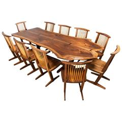 George Nakashima Conoid Dining Table and Ten Conoid Chairs