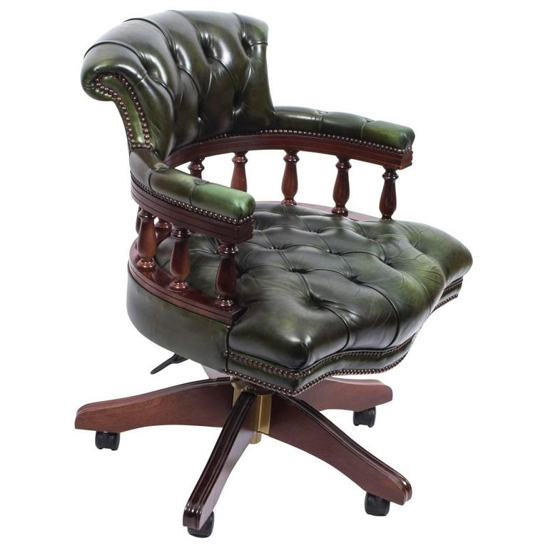English Hand Made Leather Captains Desk Chair Green For Sale