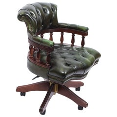 Bespoke English Hand Made Leather Captains Desk Chair Green