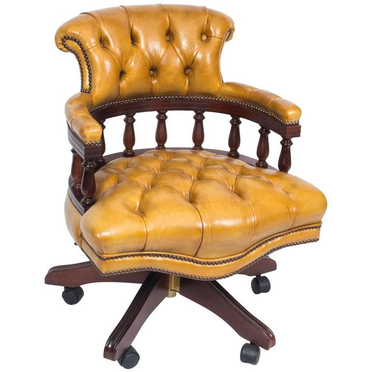 Great English Handmade Leather Captains Desk Chair For Sale