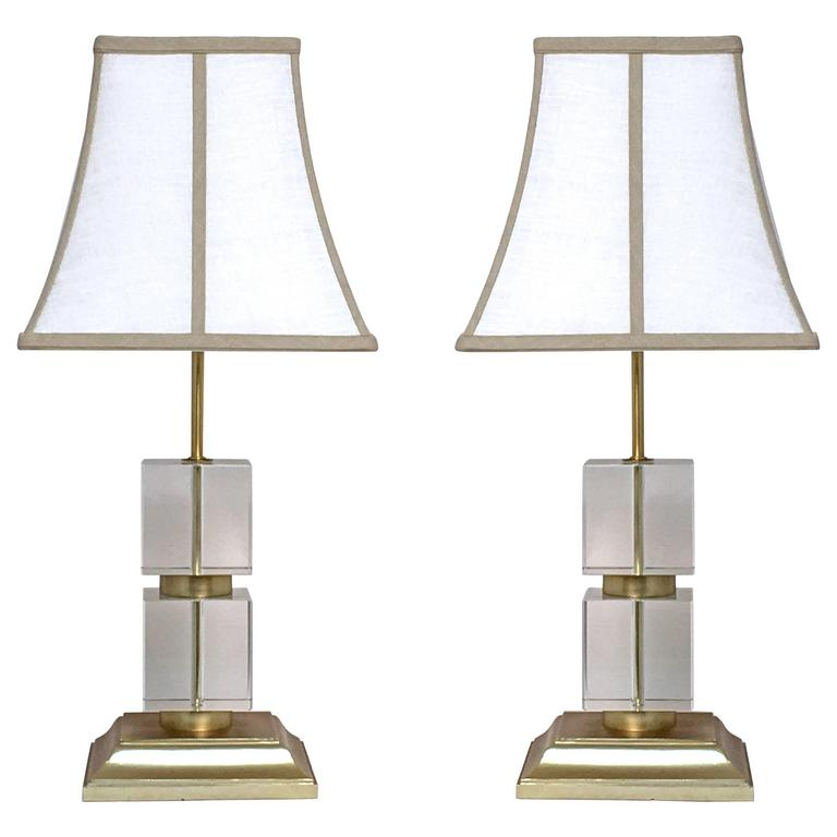 Pair Of Victoria Hagan Perfect Pieces Cubed Crystal With Gilded Base Table  Lamps 1