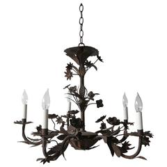 Black Iron Five-Arm Chandelier with Floral Details
