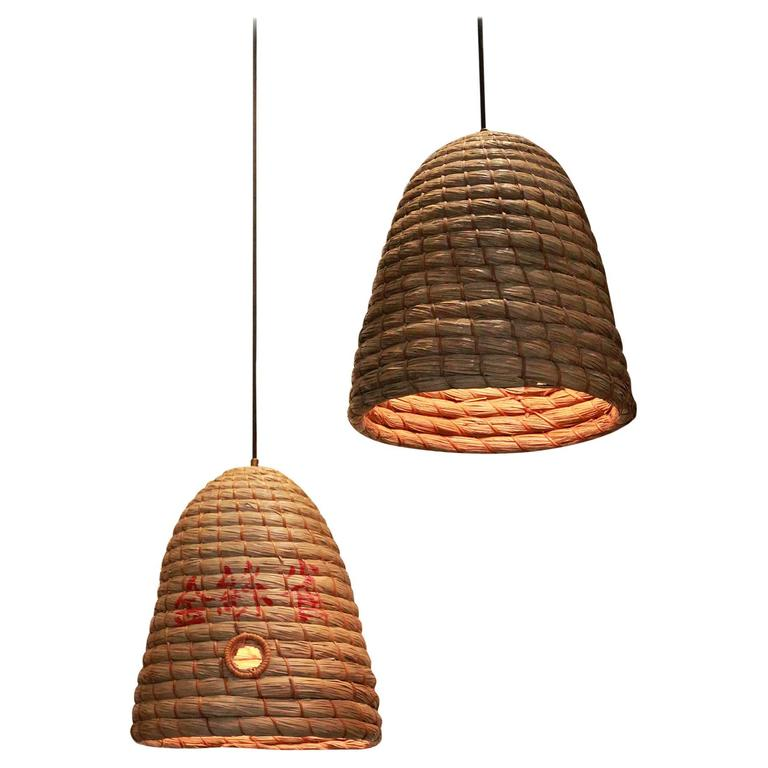 Rustic Japanese Raffia Beehive Pendant For Sale