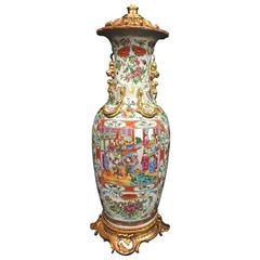 Large Canton/Rose Medallion 19th Century Vase/Lamp