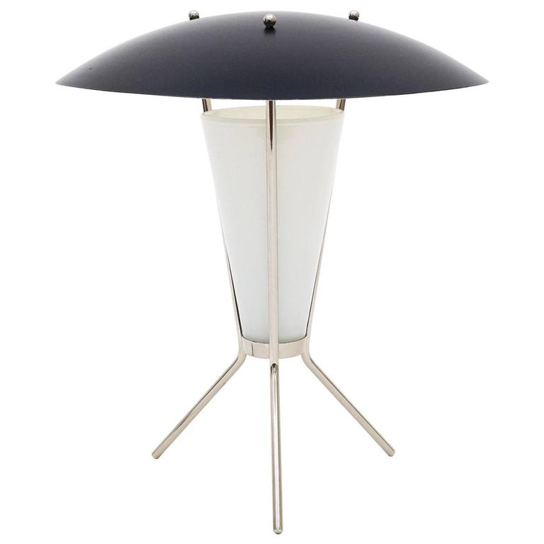 Nickeled and Glass Tripod Table Lamp, 1960s
