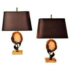 Pair of Willy Daro Brass and Agate Table Lamps, 1970s