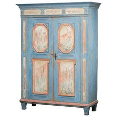 Gustavian Cabinet in Light Blue Color with Marbled Panels