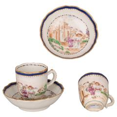 Pair of Chinese Porcelain Famille Rose Coffee Cups and Saucers, 18th Century