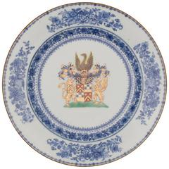Chinese Porcelain Armorial Plate, French Arms of the Chasteleyn Family