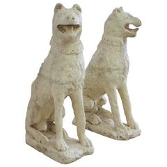Pair of Cast Stone Dogs