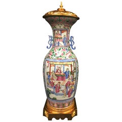 Large 19th Century Chinese Famille Rose Vase or Lamp