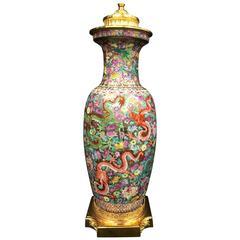 19th Century Chinese Famille Rose Dragon Vase