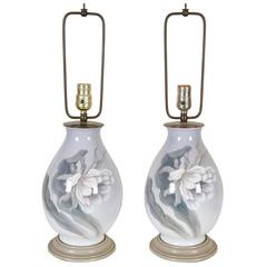 Pair of Grey Ceramic Table Lamps with Peony Decoration