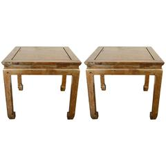 Pair of Silver-Gilt Chinioserie Square Low Tables