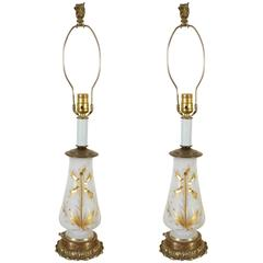 19th Century Pair of Hand-Painted Opaline and Gilt Table Lamps