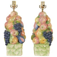 Pair of Italian Ceramic Fruit Topiary Table Lamps