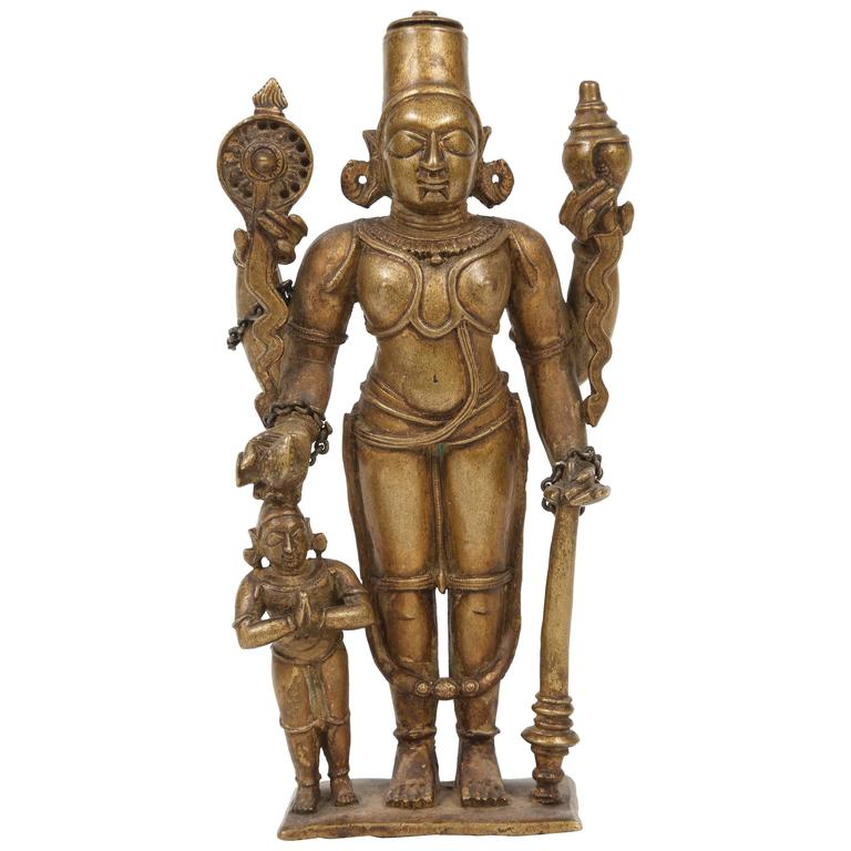 Bronze Statuette of Lord Vishnu and the Goddess Lakshmi, Indian, 18th Century For Sale
