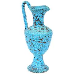 Vivid Blue Turquoise Fat Lava Cyclope Pottery Vase, 1960s