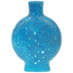 Turquoise Blue Vase by Edmond Lachenal, France, circa 1930