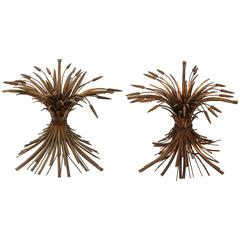 Pair of Gilt Bronze Wheat Sheaf Table Bases, Italy, 1940s