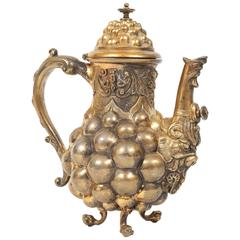 German Rococo Silver Gilt Coffee Pot, Nuremberg, 17th-18th century