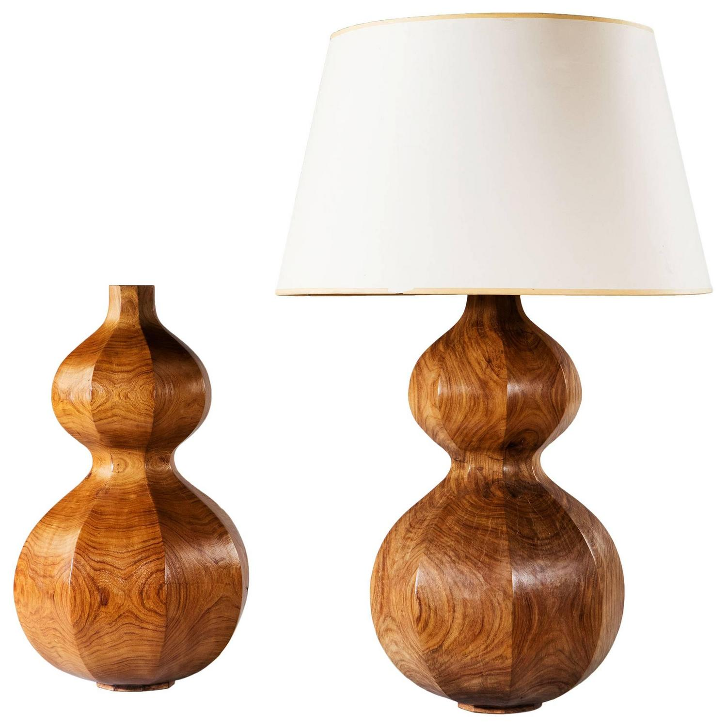 pair of hexagonal pear wood double gourd lamps for sale at 1stdibs. Black Bedroom Furniture Sets. Home Design Ideas
