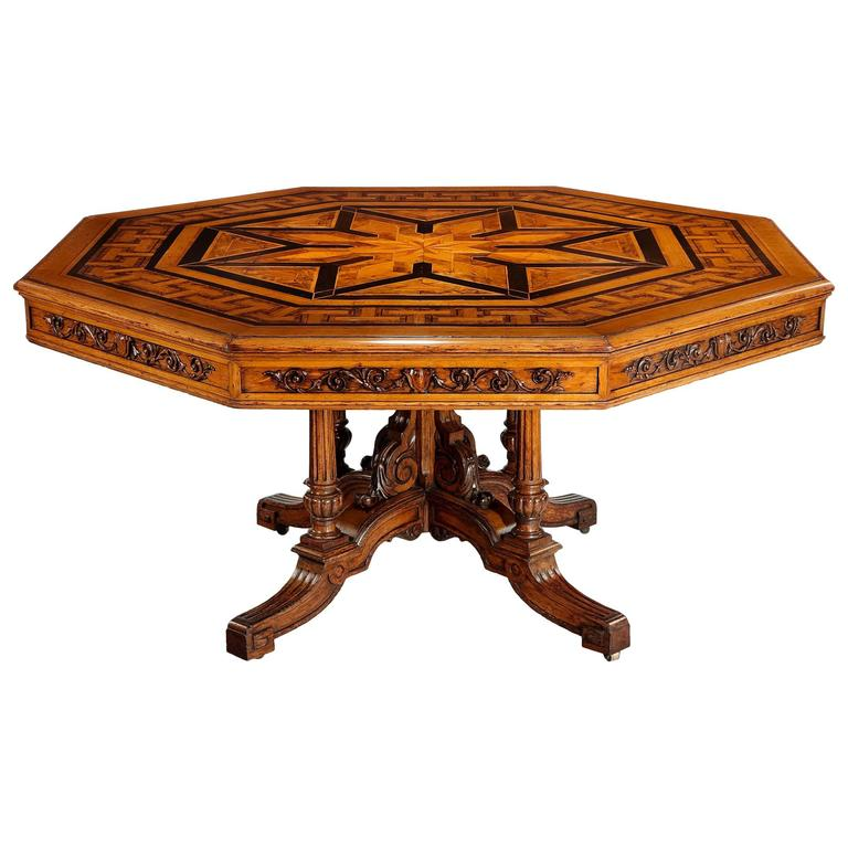 Superb Large 19th Century Octagonal Parquetry Inlaid Centre or Dining Table