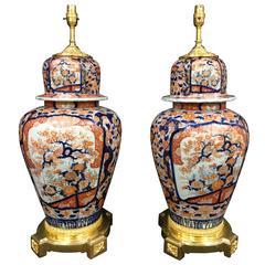 Large Pair of 19th Century Japanese Lidded Imari Vases/Laps