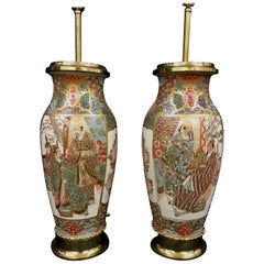Pair of 19th Century Satsuma Vases or Lamps