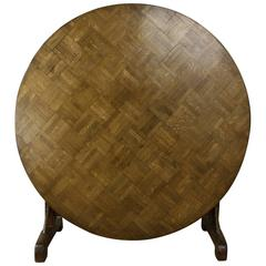 Unusual Antique Oak Parquet Topped Round Vendange Table