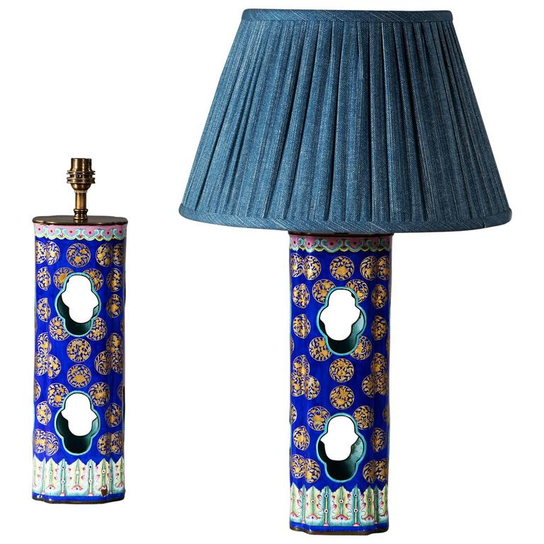 Pair Of Chinese Canton Enamel Hat Stands At 1stdibs