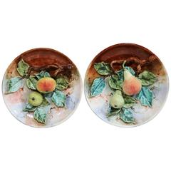 Pair of 20th Century French Hand-Painted Barbotine Plates with Apples and Pears