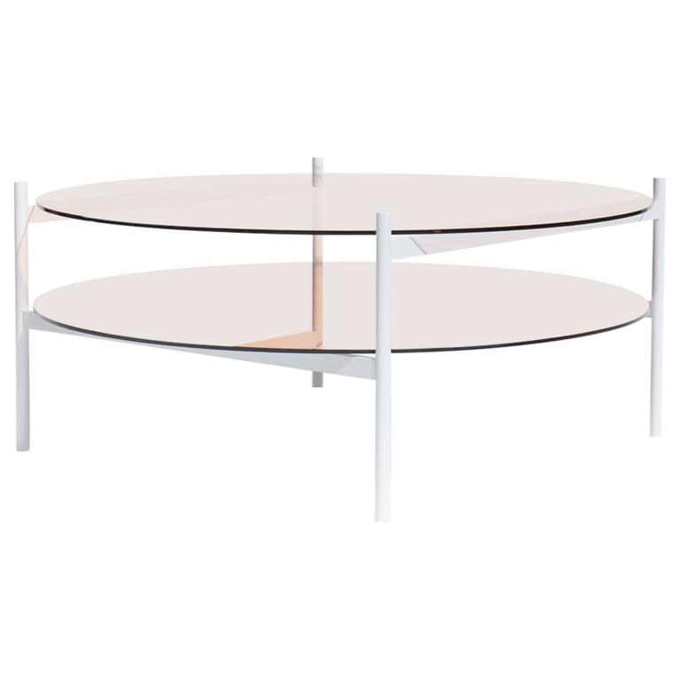 Contemporary Duotone Coffee Table, White Base / Rose Glass / Rose Mirror