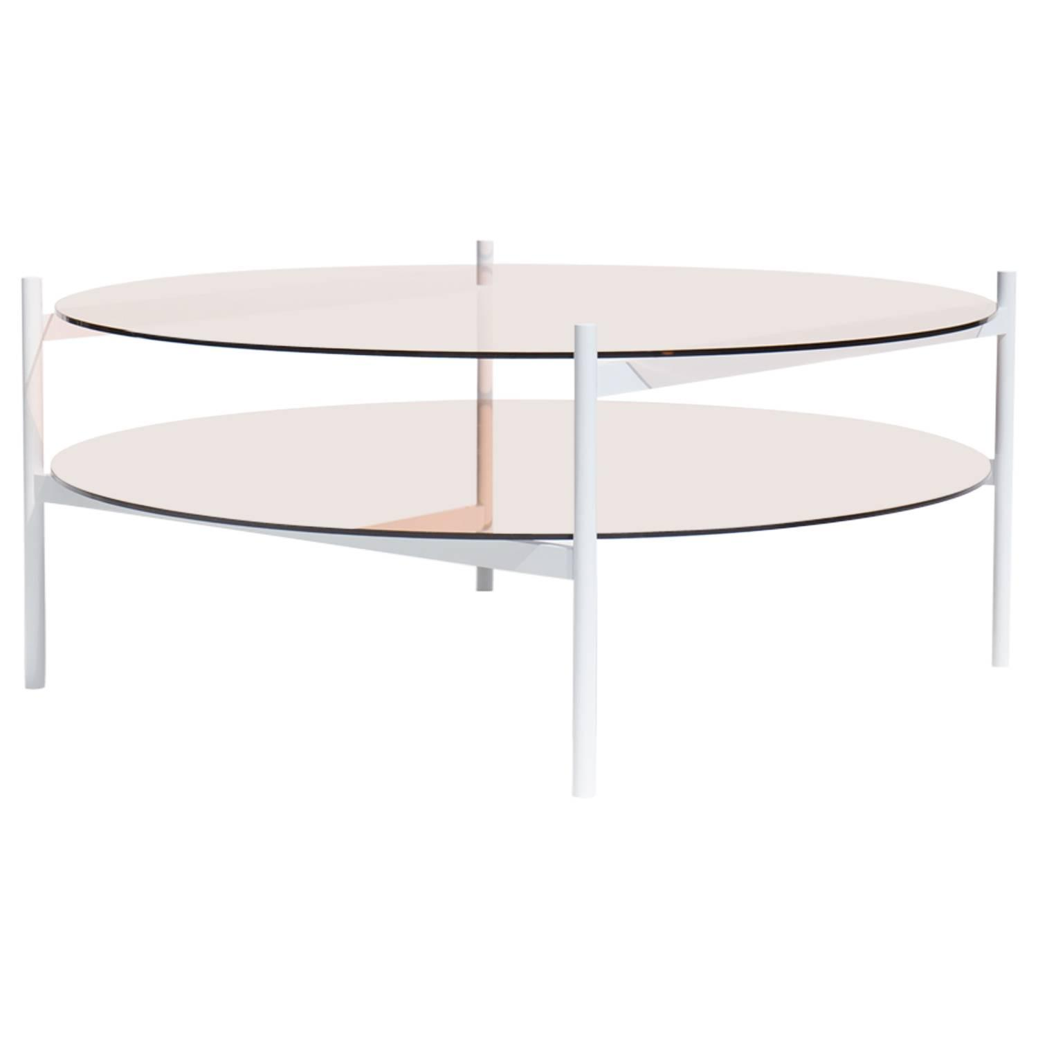 Contemporary Duotone Coffee Table, White Base / Rose Glass
