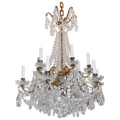 Wonderful French Baccarat Bronze and Crystal Twelve-Light Cascading Chandelier