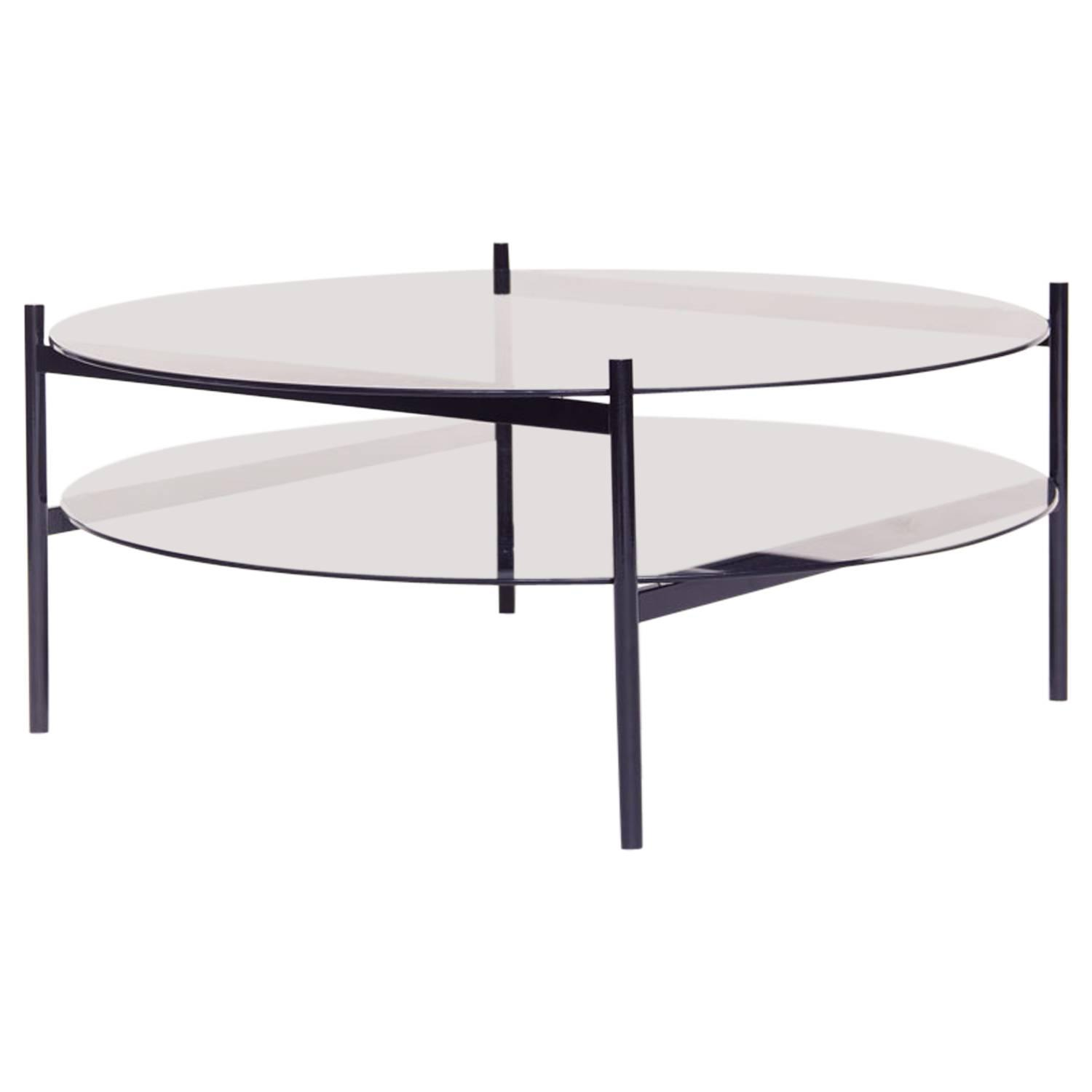Black Glass Coffee Table Sale: Contemporary Duotone Coffee Table Black Base/Smoked Glass