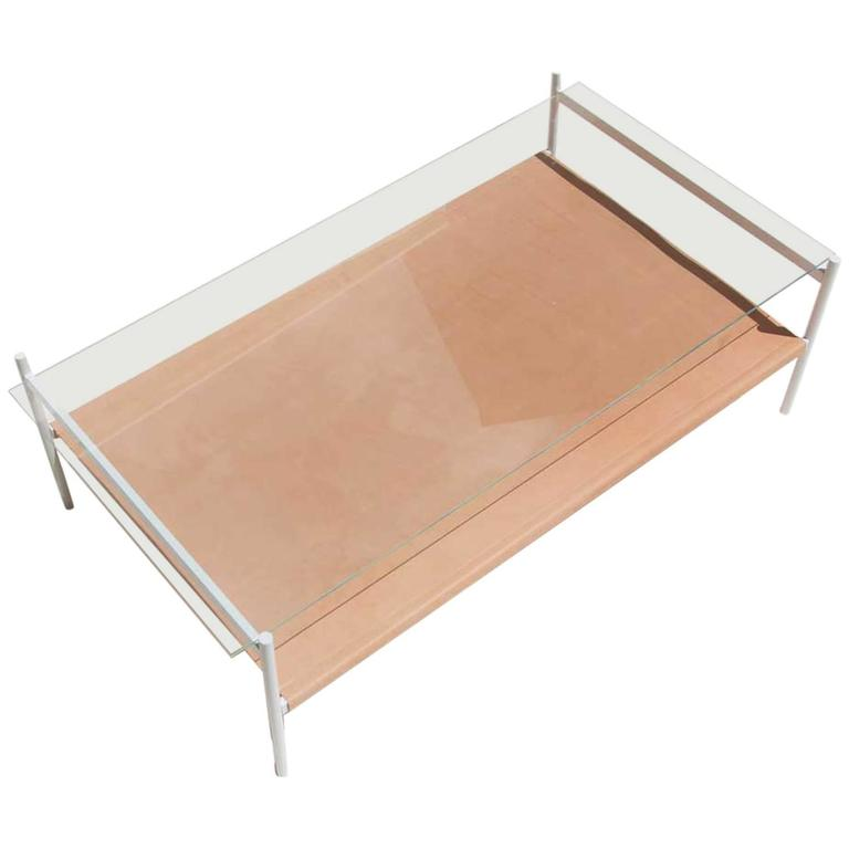 Duotone Rectangular Coffee Table White Base Clear Glass Natural Leather For Sale At 1stdibs
