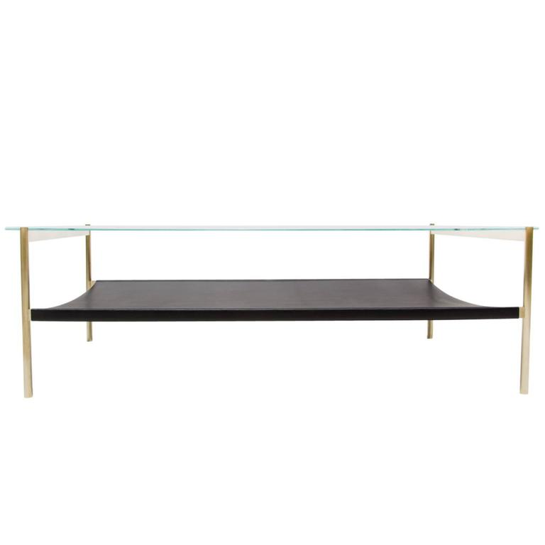 Duotone Rectangular Coffee Table Brass Base Clear Glass Black Leather For Sale At 1stdibs