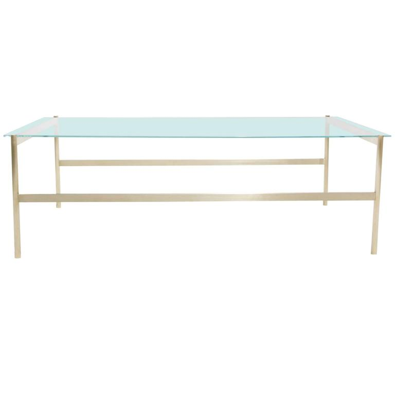 Duotone Rectangular Coffee Table, Brass Base/Clear Glass