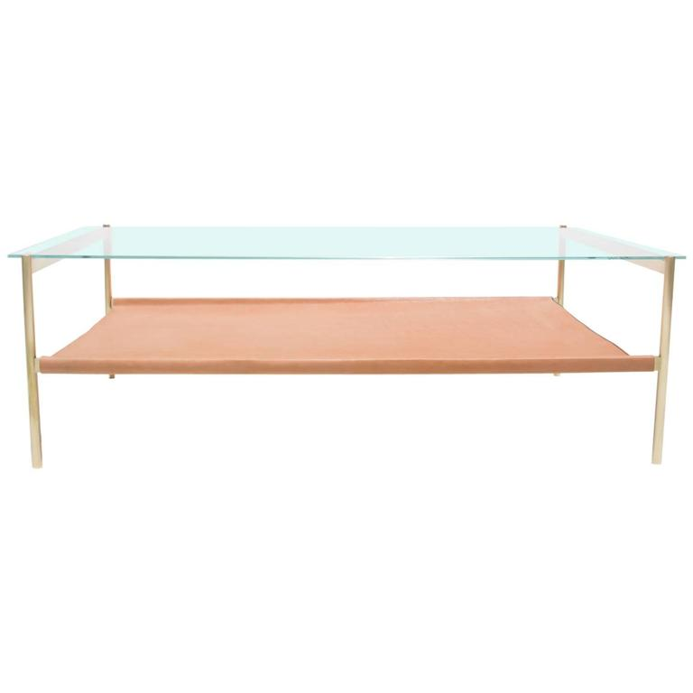 Duotone Rectangular Coffee Table Brass Base/Clear Glass/Natural Leather
