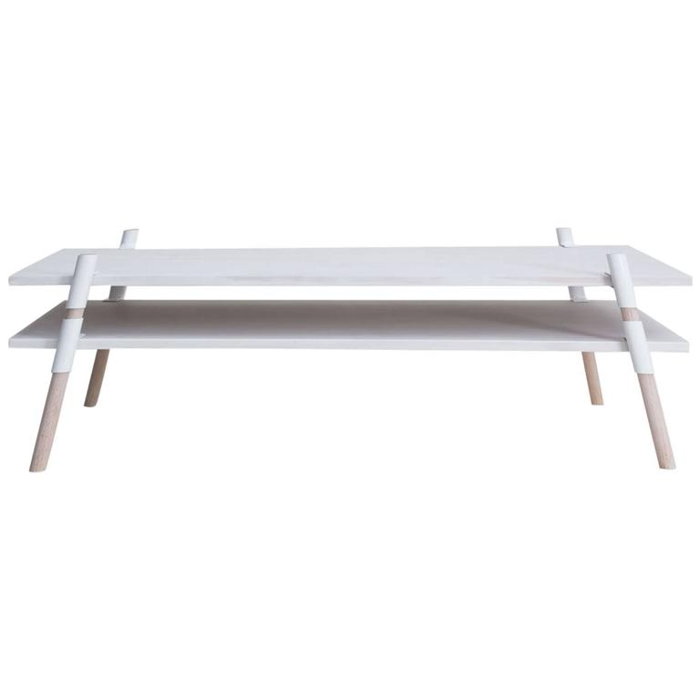 Contemporary Italic Coffee Table Bleached Alder White For Sale At 1stdibs