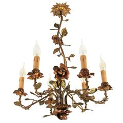 1940s Spanish Polychromed and Gilt Iron Floral Tole Chandelier